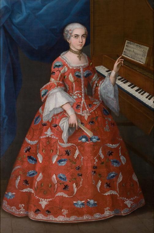 2016 - mayo - Mujer joven con un organo, Mexico 1735-1750