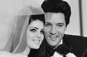 01 May 1967, Las Vegas, Nevada, USA --- Original caption: 5/1/1967-Las Vegas, NV-  Singer Elvis Presley and his bride Priscilla Ann Beaulieu, pose for photograph following their wedding at the Aladdin Hotel. Presley, 31, met his 22-year-old bride when he was stationed in Germany during his Army service. --- Image by © Bettmann/CORBIS